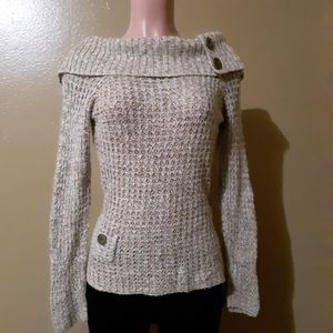 J.J. Always Cowl Neck Sweater Buttons Front Pocket